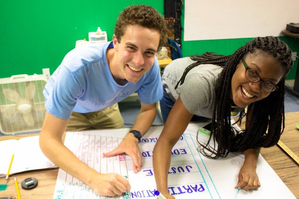 "Chandler and I making a ""Classroom Citizenship"" poster. This activity sparked discussion over our values for the Rhetoric class we're co-teaching and contributed to the good mojo of our classroom."
